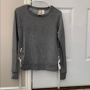 Tops - Grey hoodie with lace up sides